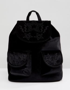 Skinnydip Бархатный рюкзак со звездами. Цвет: черный