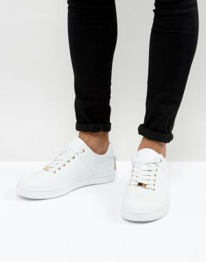 ASOS Белые кроссовки со шнуровкой и золотистой отделкой. Цвет: белый