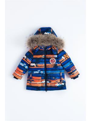 Куртка NELS. Цвет: темно-синий, оранжевый