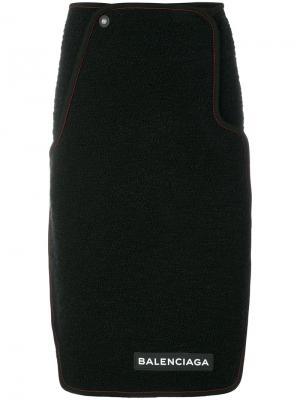 Креповая юбка с логотипом Balenciaga. Цвет: чёрный
