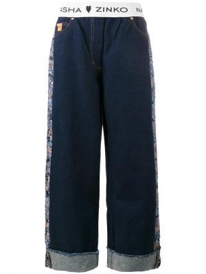 Жаккардовые широкие джинсы Natasha Zinko. Цвет: синий