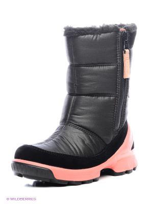 Полусапожки ECCO. Цвет: черный, розовый