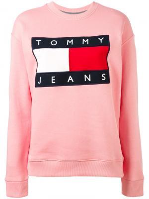 Толстовка с нашивкой логотипа Tommy Jeans. Цвет: розовый и фиолетовый