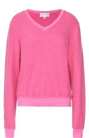 Пуловер прямого кроя с V-образным вырезом Wildfox. Цвет: розовый