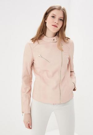 Куртка кожаная Nice & Chic. Цвет: розовый