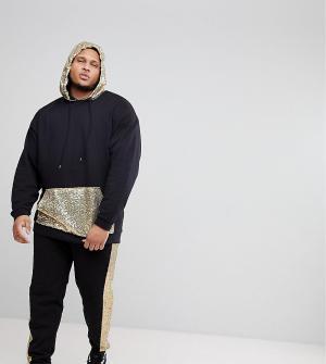 ASOS Спортивный костюм оверсайз с золотистыми пайетками PLUS. Цвет: черный