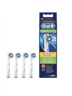 Сменные насадки ORAL-B Cross Action 4 шт (3+1) для электрической зубной щетки ORAL_B. Цвет: белый, синий