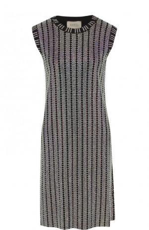 Приталенное мини-платье со стразами Gucci. Цвет: черный