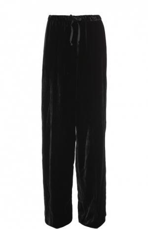 Бархатные широкие брюки с эластичным поясом Dries Van Noten. Цвет: черный