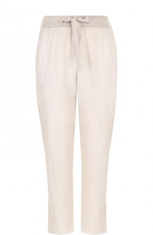 Льняные укороченные брюки с эластичным поясом Deha. Цвет: бежевый