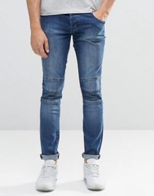 Loyalty & Faith Байкерские джинсы скинни из стираного денима с молнией. Цвет: синий