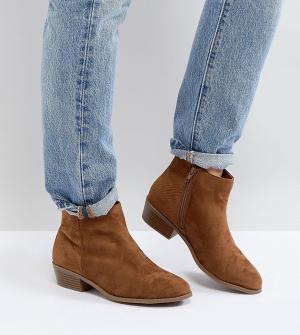 New Look Wide Fit Светло-коричневые ботинки из искусственной замши для широкой стопы. Цвет: рыжий