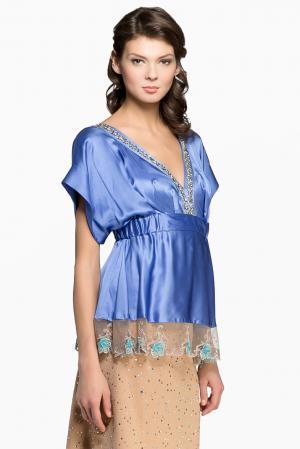Блуза из шелка 123351 Iya Yots. Цвет: синий