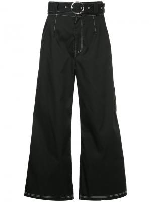 Джинсовые брюки-палаццо с контрастной строчкой G.V.G.V.. Цвет: чёрный