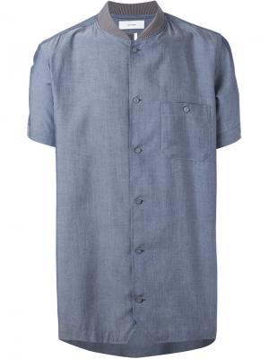 Рубашка с воротником в рубчик Facetasm. Цвет: синий