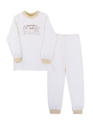 Пижама Коллекция Медвежата КОТМАРКОТ. Цвет: бежевый, молочный