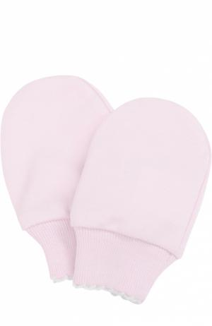 Варежки из хлопка Kissy. Цвет: розовый