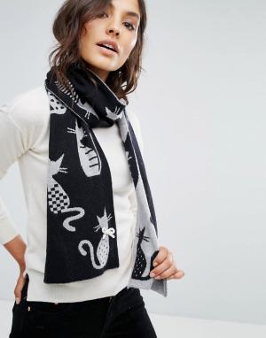 Alice Hannah Жаккардовый шарф с кошками. Цвет: черный