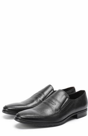 Классические кожаные лоферы с прострочкой Aldo Brue. Цвет: черный