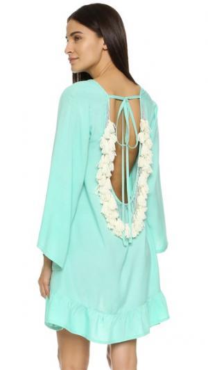 Короткое пляжное платье Indiana Basic SUNDRESS. Цвет: аква/белый