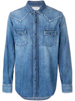 Классическая джинсовая рубашка Saint Laurent. Цвет: синий