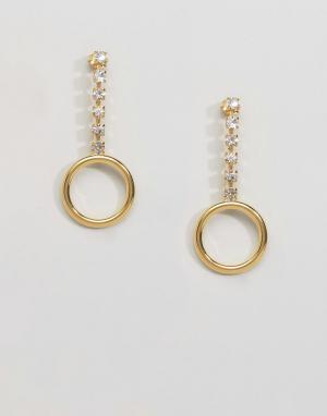 Gogo Philip Позолоченные серьги с кольцом и стразами. Цвет: золотой
