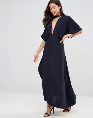 Foxiedox Платье с запахом Jasmine. Цвет: темно-синий