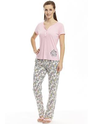 Пижама с брюками RELAX MODE. Цвет: серый, бледно-розовый