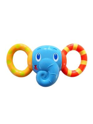 Развивающая игрушка - погремушка Друг-слоненок BRIGHT STARTS. Цвет: голубой, желтый, красный