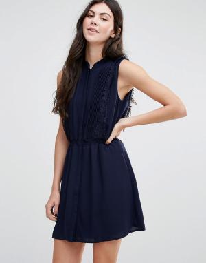 Greylin Платье-рубашка с отделкой бахромой Gianna. Цвет: темно-синий