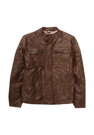 Куртка кожаная Blukids. Цвет: коричневый