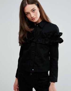 J Brand Джинсовая куртка с оборкой x Simone Rocha. Цвет: черный