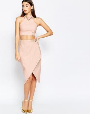 Rare Асимметричная юбка миди с цепочкой London. Цвет: розовый