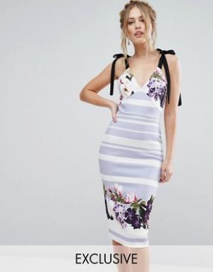True Violet Платье миди с бантиками и цветами. Цвет: мульти