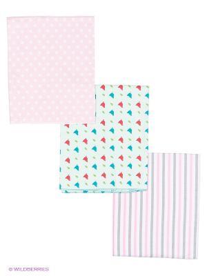 Комплект пеленок (3 шт.) HappyBabyDays. Цвет: молочный, розовый, серый