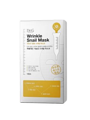 Омолаживающая маска от морщин с экстрактом улитки Wrinkle Snail Mask Sheet, 25 мл, (10 шт.) Dr.G. Цвет: белый