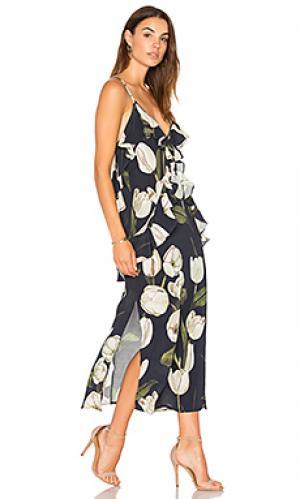 Платье-комбинация с рюшами MLM Label. Цвет: синий