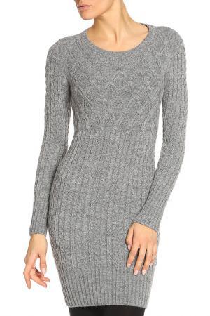 Повседневное прилегающее платье HAPPYCHOICE. Цвет: светло-серый