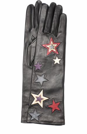 Удлиненные кожаные перчатки с аппликацией Agnelle. Цвет: черный