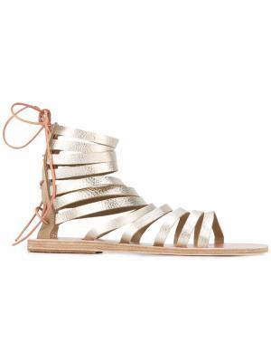 Сандалии с ремешками Ancient Greek Sandals. Цвет: металлический