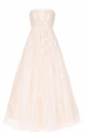 Пышное платье-бюстье с вышивкой Basix Black Label. Цвет: белый
