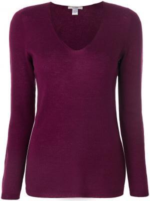 Пуловер слим с V-образным вырезом  La Fileria For Daniello D'aniello. Цвет: розовый и фиолетовый