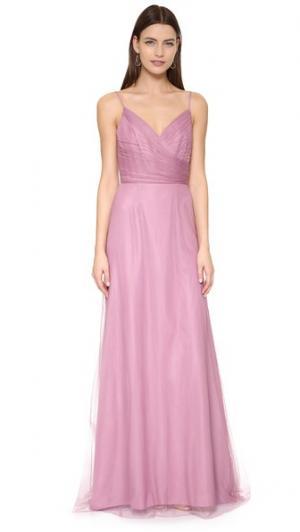 Вечернее платье из тюля с драпировкой Monique Lhuillier Bridesmaids. Цвет: вишневый