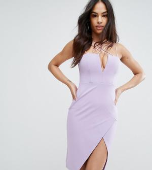 Rare Платье-футляр с глубоким вырезом London. Цвет: фиолетовый