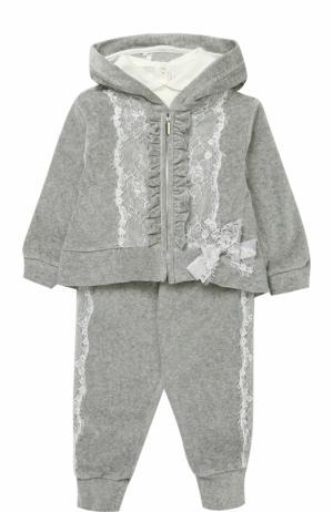 Комплект из спортивного костюма и лонгслива с кружевной отделкой Aletta. Цвет: серый
