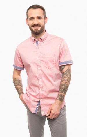 Хлопковая рубашка с короткими рукавами Pierre Cardin. Цвет: фуксия