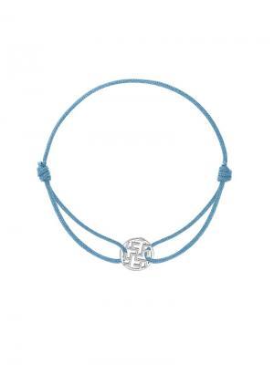 Браслет на нитке с оберегом Цветок папоротника KU&KU. Цвет: голубой, серебристый