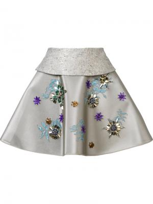 Мини юбка с вышивкой биссером Delpozo. Цвет: металлический