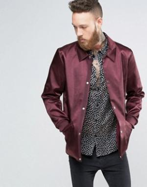 ASOS Бордовая спортивная куртка в строгом стиле. Цвет: красный
