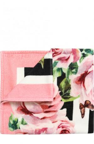Хлопковое полотенце с принтом Dolce & Gabbana. Цвет: черно-белый